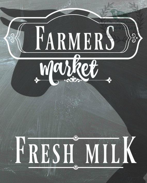 Fresh Milk/Cow Farmhouse 8 X 10 and 18 X 24 Chalkboard Download Art