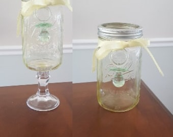 Set of 3 Standard or Tall Mason Jar Yellow Tinted Neutral Baby Shower Centerpiece