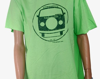 VW Bus Adult size/LRG Lt. Green/Chrome Green tee shirt.