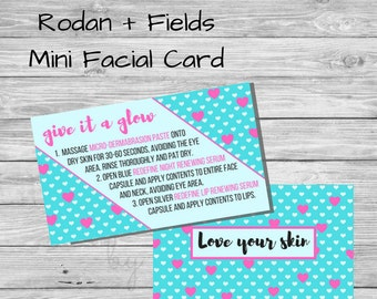 Rodan and Fields Mini Facial Card - Business Card size - printable - instant download - Rodan  + Fields