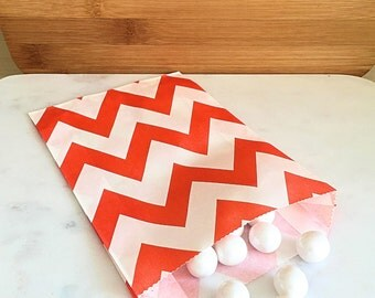 Orange Chevron Goodie Bags, Party Favors, Food safe (12)