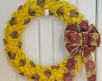All Season Yellow and Tan Burlap Petal Wreath, Burlap Wreath, Spring Wreath, Front Door Wreath, CircleDecorWreaths