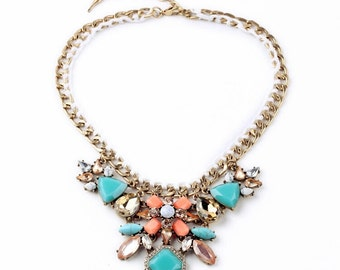 Necklace gold coral and turquoise