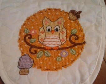 Hand sewn cross stitch owl bib