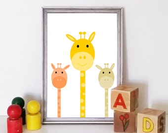 Animal nursery print. Giraffe nursery art. Gender neutral nursery. Printable nursery art. Safari nursery prints, colorful nursery art