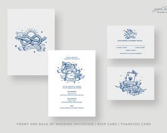 True Love Retro Sailor Vintage Jerry Tattoo Invitations. Customised, printable pdf. White, Blue or Black options. Digital file only.