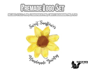 Sunflower Logo Set, Premade Logo, Custom Logo, Shop Logo, Logo Set