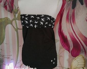 bandeau top shirt schwalben bird black rockabilly