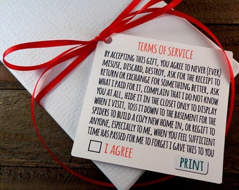 Terms of Service Humorous Gift Tags Whimsical Christmas Gift Tags Nerdy Holiday Tags for Coworkers - Set of 12