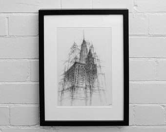 New York Print, Empire State Building Print, Skycraper Prints, New York Skyline Print, Wall Art, Architectural Illustration, Drawing Print