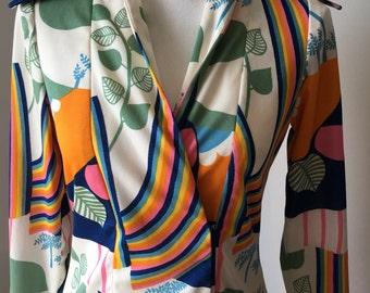 ON SALE! 1970s Vintage Don Luis de Espana floor legnth dress funky, patterend, retro, orange, white, green, mod, designer,