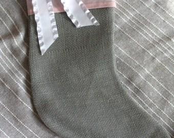 Christmas Stocking, Burlap Stocking, Custom Stocking, Stocking, Pink Stocking, White bow, Girly Stocking