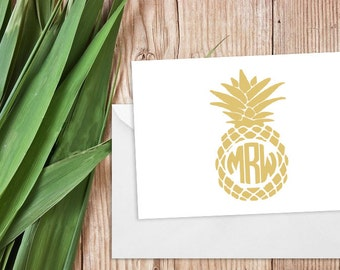 Pineapple Monogram Stationery/ Thank You Cards, Set of 25