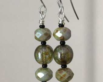 Green-hued Czech Glass French Hook Earrings