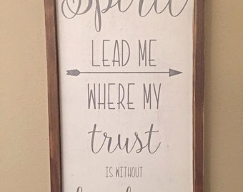 "25.5""x13.5"" Spirit Lead Me/wood sign/word art/distressed sign/wall décor/rustic"