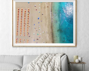 Aerial Beach Photography, Large Wall Art Decor, Colour Fine Art Photography, Art Prints, Summer Umbrellas with Turquoise Ocean Water