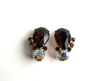 vintage purple rhinestone clip on earrings . large teardrop glass, prong set, open back clip on earrings with AB glass