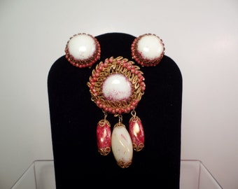 1950's Miriam Haskell Set with Unusual Art Glass Stones and Beads