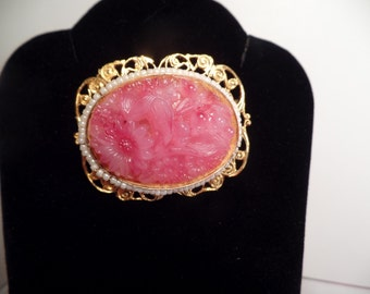 1960's Brooch with Faux Pink Jade Stone Signed Freirich