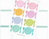 8 Large meal planning stickers, hand drawn, meal prepe, meal icons, lunch date, dinner date, family time, meeting, meal plan, MEA2