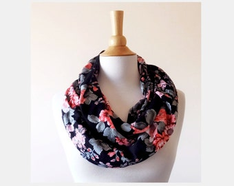 Black Floral print Infinity Scarf circle cowl scarf tube scarf winter fashion accessory gift for her coral pink gift for mom christmas scarf