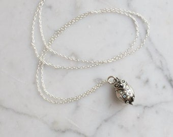 Sparkling Silver Owl Charm Necklace