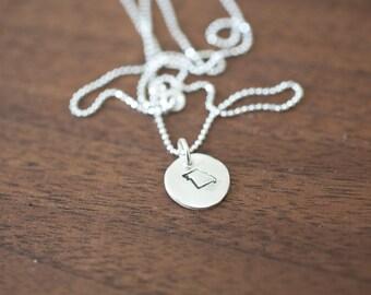 Tiny Missouri Necklace Silver Missouri Necklace State Charm State Necklace MO Small State Charm Missouri Charm Missouri Necklace