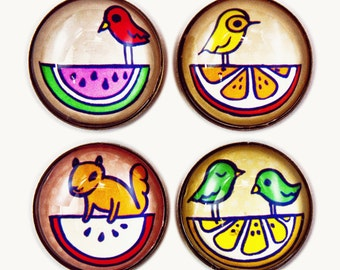 Cute Animals Picnic Party - Kitchen Art Magnets - Summer Gifts - Glass Magnets - Fruit Magnets - Cute Animal Gift - Lemon Art tropical fruit