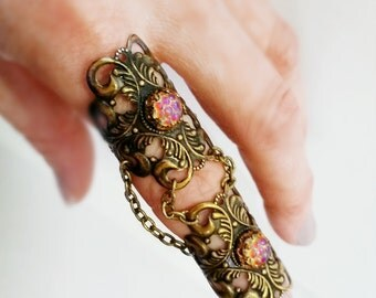 Bejeweled Dragon -Armor Ring- -Knuckle Ring- with Gorgeous Dragon Scales Glass Stones