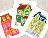 PAINTED LADIES Printable Instant Download pdf Digital Wall Art Print Houses Victorian Edwardian Architecture Clipart Illustration Triptych