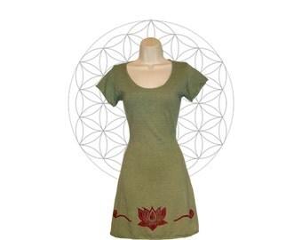 Hemp Clothing - Organic cotton and Hemp Tunic/Mini Dress with Lotus print - Handmade to order with sustainable materials