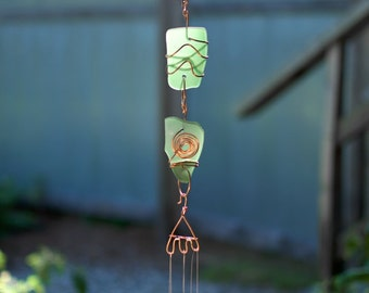 Wind Chimes Green Sea Glass with Brass Chimes beach glass stained glass suncatcher