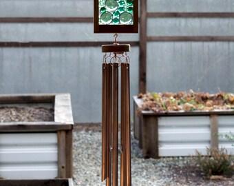 Wind Chime, Green Glass Copper Suncatcher