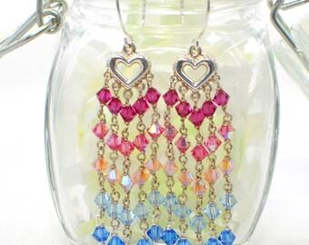 Chandelier Earrings - Pink Blue Crystal Chandelier - Crystal Earrings - Heart Chandeliers - Gift for Her - Earrings Gift - Heart Earrings