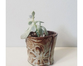 Succulent planter - ceramic mini planter - plant pot blue with flowers - handmade vessel