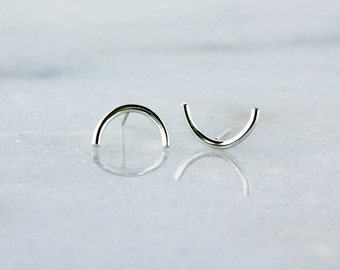 Silver Half Circle Studs, Crescent Moon Earrings, Sterling Silver Simple Everyday Style, Minimalist Jewelry