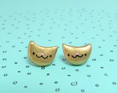 Lucky Gold Cat Clay Stud Earrings