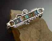 Mosaic inlay Sterling Silver Bracelet with green blue iridescent color polymer clay inlay faux wood and black white elements hook clasp
