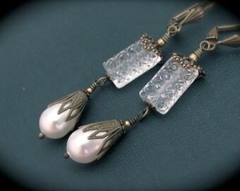 White Pearl Earrings, Swarovski Pearls, Victorian Boho Bohemian Steampunk, Bride Bridal Wedding, Chandelier Long Dangle, Quinceanera