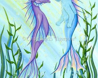 Sea Dragon Mercat Cat Painting Mermaid Cat Art Sea Serpent Purple Dragon Blue Cat Fantasy Cat Art Print 5x7 Cat Lovers Art