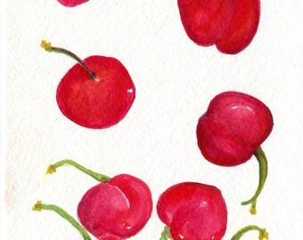 Cherries Watercolors Paintings Original, Small Fruit Painting, Food Wall Art, 5 x 7, original watercolor painting of cherries, kitchen decor