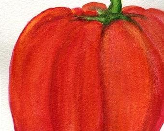 Pepper Painting, Small vegetable artwork,  Kitchen Art, kitchen wall decor, Food art, 4 x 6 Red pepper Original Watercolor