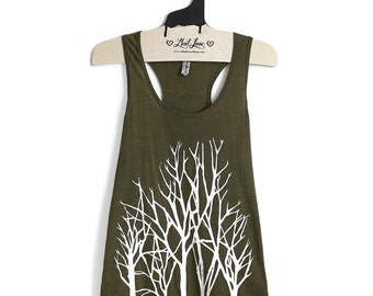 Large -Olive Racer Back Tank with Branches Screenprint