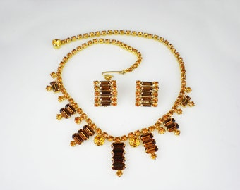 Vintage Yellow Topaz Amber Rhinestone Necklace & Earrings Demi Parure Vintage Jewelry