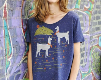 Llamas Tee, Graphic Shirt for Women, Hand Screen Printed, Nifty Speckled Fabric