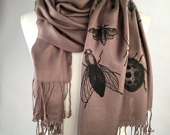 Bug Scarf. Insect pashmina, black silkscreen print on driftwood scarf & more. Entomologist gift, natural history lover gift.
