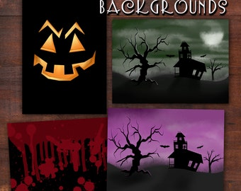 Halloween Backgrounds | 4 PNG Files, Digital File Backgrounds | Digital Downloads | Halloween Printable Background Images | Instant Download