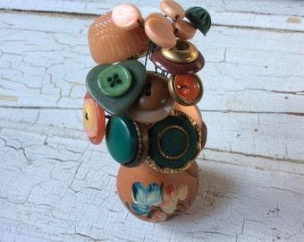 Button Flowers Miniature Handpainted Terra Cotta Vase/Button Bouquet/Vintage Buttons and Beads