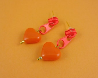 Orange Zip Earrings, Orange Heart Earrings - neon orange zips, zipper earrings, repurposed upcycled, Harajuku Decora, cute kitsch kawaii