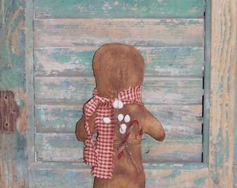 Gingerbread Doll, American Made Primitive Doll, Handmade Christmas Decor, Dark Red Homespun Scarf, White Tallow Berries